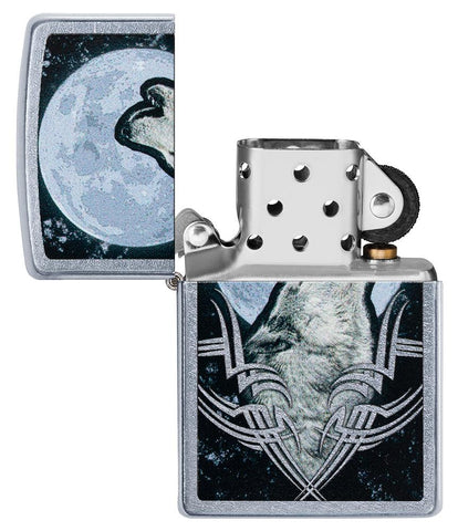 Howling Wolf Design Windproof Lighter with its lid open and not lit