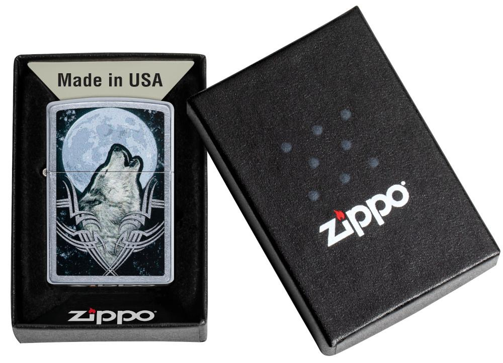 Howling Wolf Design Windproof Lighter in its packaging