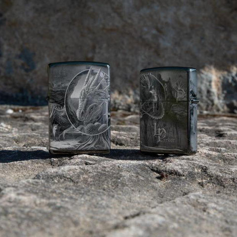 Lifestyle image of Lisa Parker Dragon design lighters, showing the front and back designs