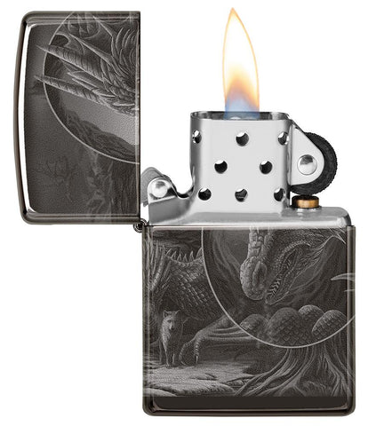 Lisa Parker Mythological Design Windproof Lighter with its lid open and lit