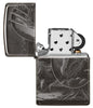Lisa Parker Mythological Design Windproof Lighter with its lid open and unlit