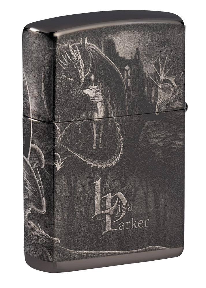 Back shot of Lisa Parker Mythological Design Windproof Lighter standing at a 3/4 angle