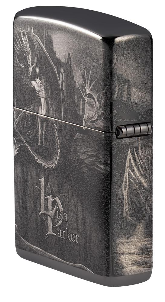 Angled shot of Lisa Parker Mythological Design Windproof Lighter showing the back and hinge side of the lighter
