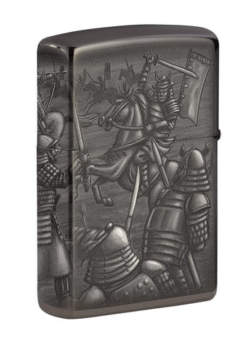 Back shot of Knight Fight Design High Polish Black Windproof Lighter standing at a 3/4 angle