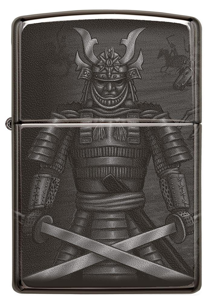 Front shot of Knight Fight Design High Polish Black Windproof Lighter