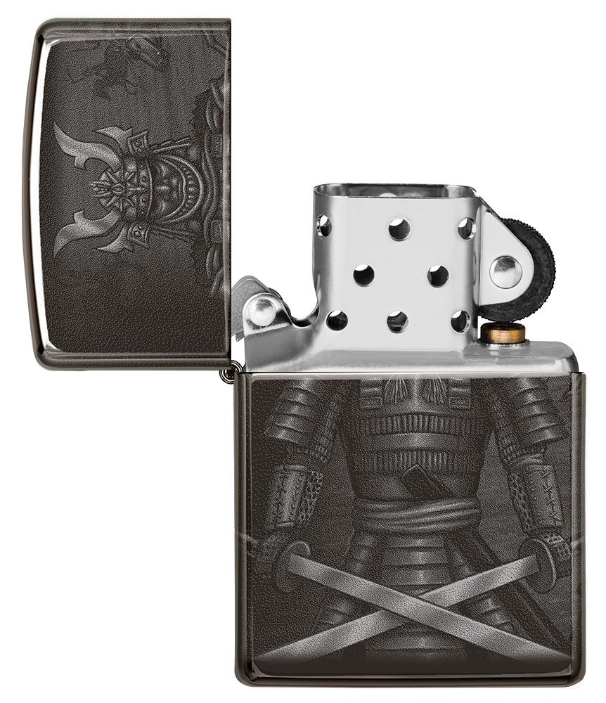 Knight Fight Design High Polish Black Windproof Lighter with its lid open and unlit