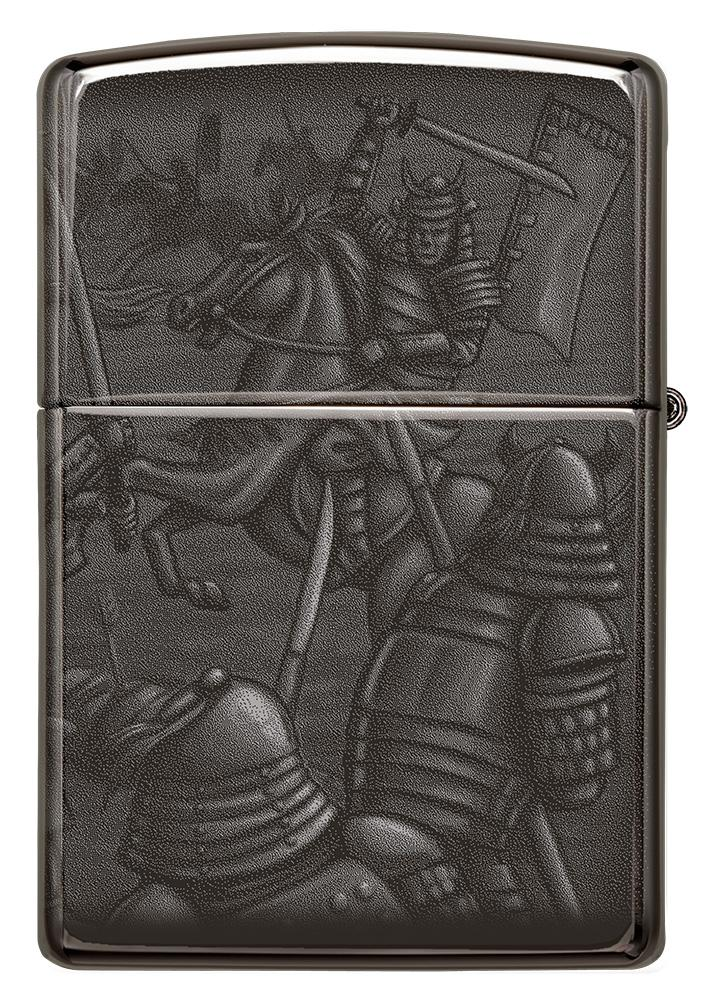 Back shot of Knight Fight Design High Polish Black Windproof Lighter