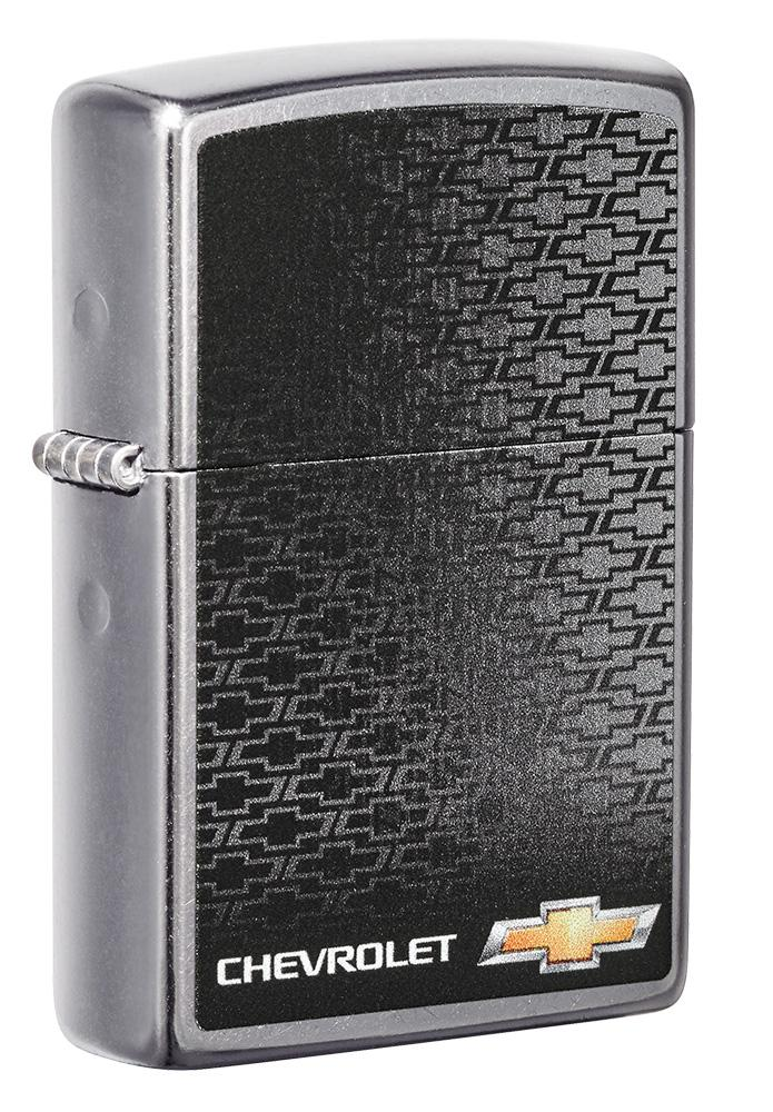 Front shot of Chevrolet® Street Chrome™ Windproof Lighter standing at a 3/4 angle