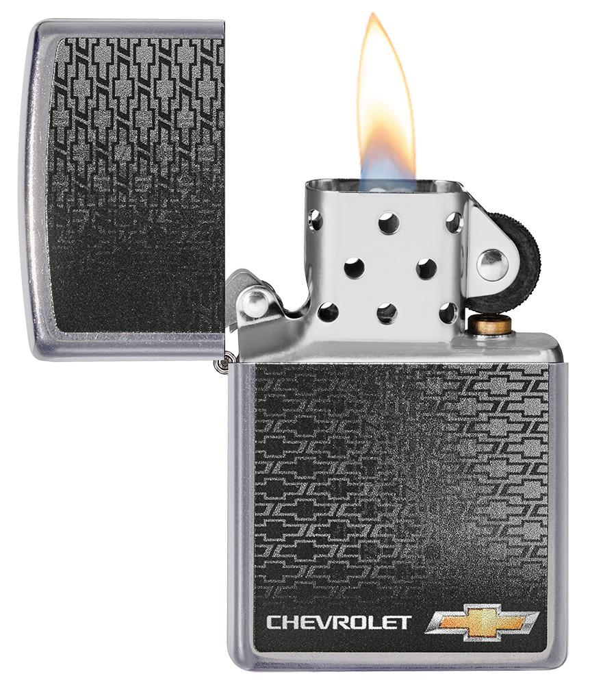 Chevrolet® Street Chrome™ Windproof Lighter with its lid open and lit