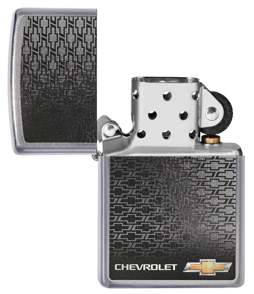 Chevrolet® Street Chrome™ Windproof Lighter with its lid open and  unlit