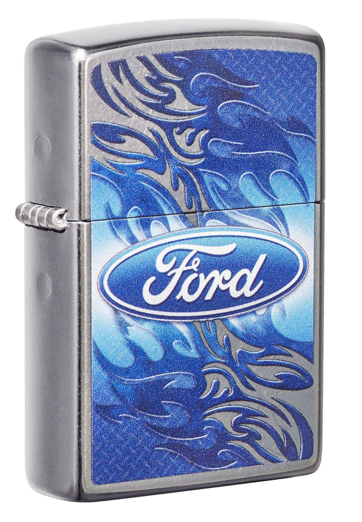 Front view of the Ford pocket lighter closed at a 3/4 angle