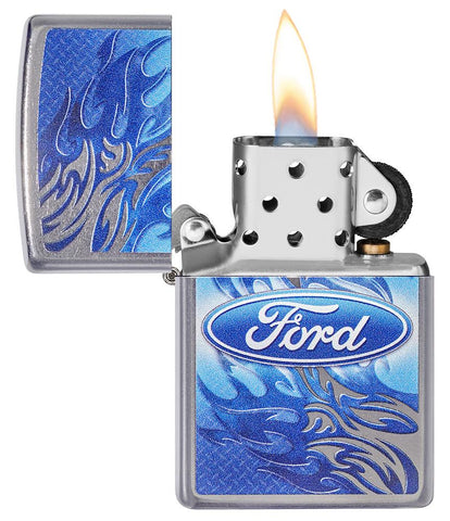 Ford Flame Logo Street Chrome™ Windproof Lighter with its lid open and lit