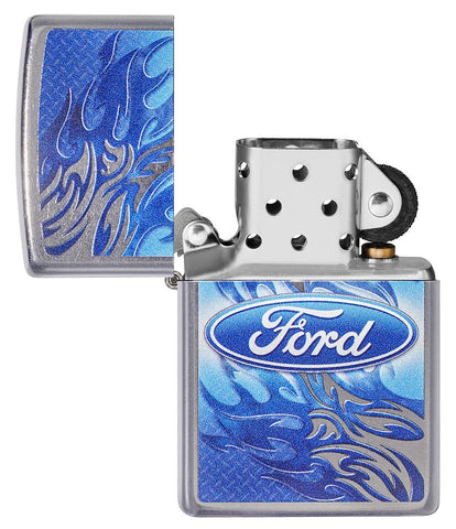 Ford Flame Logo Street Chrome™ Windproof Lighter with its lid open and unlit