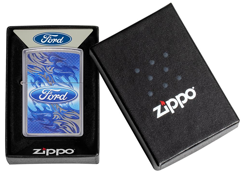 Ford Flame Logo Street Chrome™ Windproof Lighter in its packaging