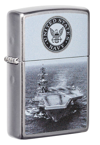 Front shot of U.S. Navy® Aircraft Carrier Street Chrome™ Windproof Lighter standing a ta 3/4 angle