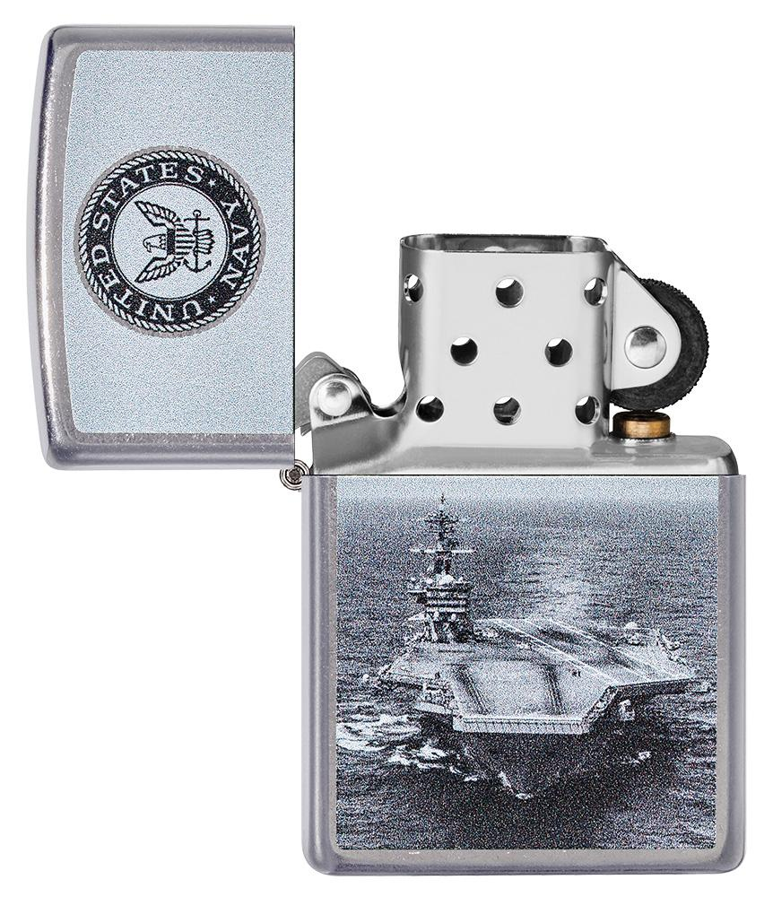 U.S. Navy® Aircraft Carrier Street Chrome™ Windproof Lighter with its lid open and unlit