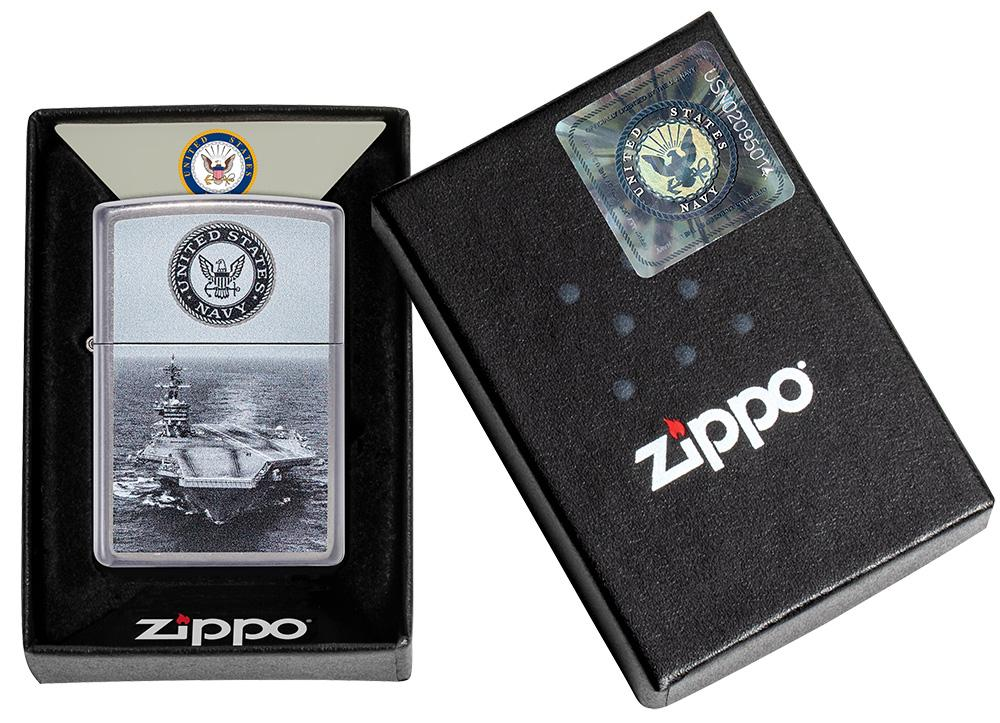 U.S. Navy® Aircraft Carrier Street Chrome™ Windproof Lighter in its packaging