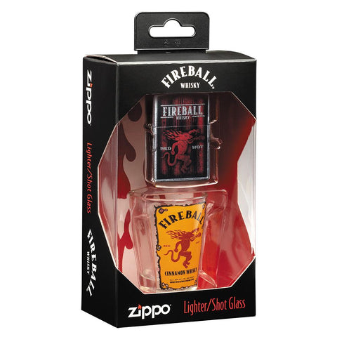 Fireball Shot Glass & Lighter Gift Set in its packaging standing at an angle