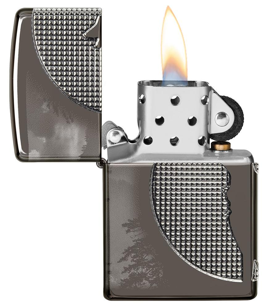 Wolf Design Armor® Black Ice® Windproof Lighter with its lid open and lit