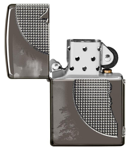 Wolf Design Armor® Black Ice® Windproof Lighter with its lid open and unlit