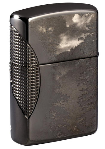 Back shot of Wolf Design Armor® Black Ice® Windproof Lighter standing at a 3/4 angle