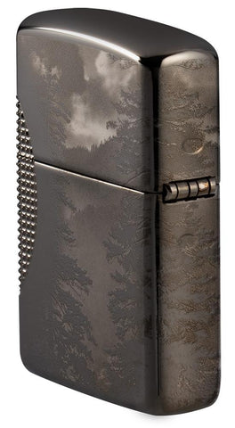 Angled shot of Wolf Design Armor® Black Ice® Windproof Lighter showing the back and the hinge side