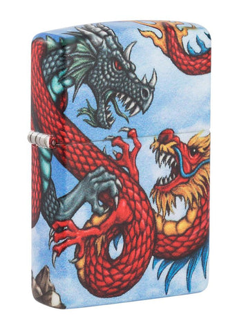 Front shot of Dragon Design 540 Color Windproof Lighter standing at a 3/4 angle