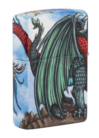 Back shot of Dragon Design 540 Color Windproof Lighter standing at a 3/4 angle