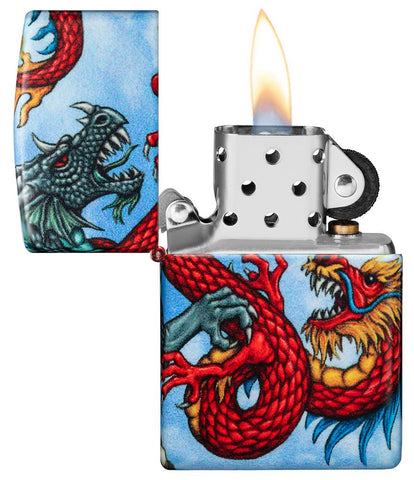 Dragon Design 540 Color Windproof Lighter with its lid open and lit