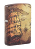 Front shot of Pirate Ship Design 540 Color Windproof Lighter standing at a 3/4 angle