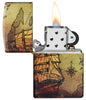 Pirate Ship Design 540 Color Windproof Lighter with its lid open and lit