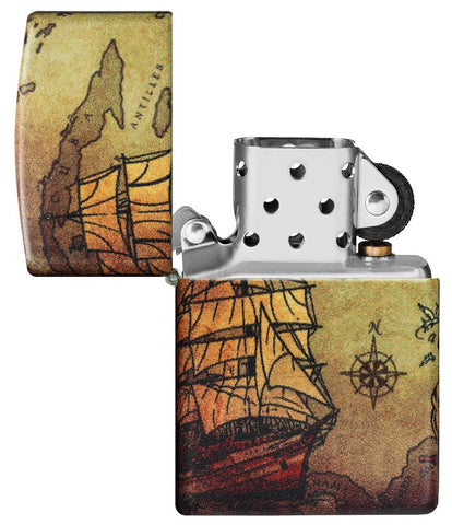 Pirate Ship Design 540 Color Windproof Lighter with its lid open and unlit