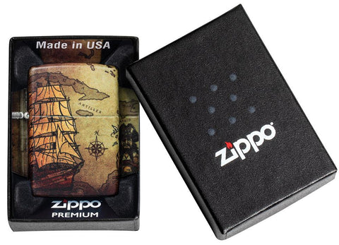 Pirate Ship Design 540 Color Windproof Lighter in its premium packaging