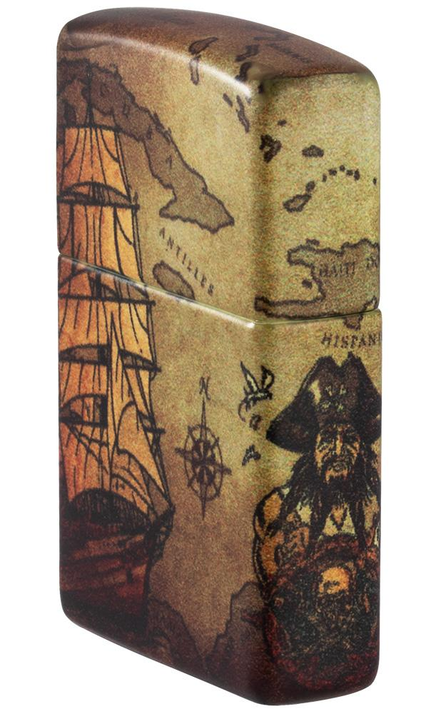 Angled shot of Pirate Ship Design 540 Color Windproof Lighter showing the front and right side of the lighter