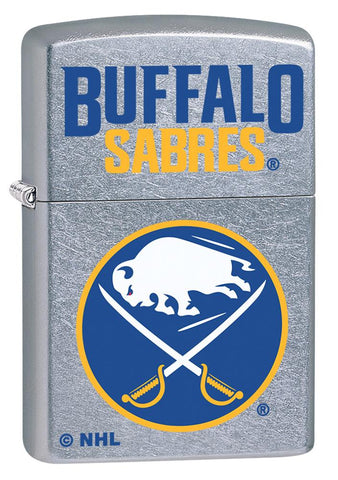 Front shot of ©NHL Buffalo Sabres Street Chrome™ Windproof Lighter standing at a 3/4 angle