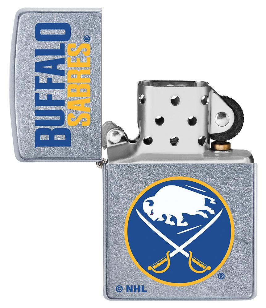 ©NHL Buffalo Sabres Street Chrome™ Windproof Lighter with the lid open and unlit