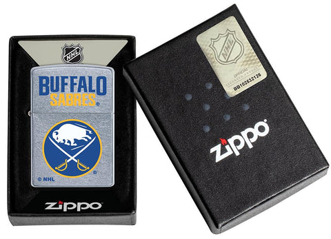 ©NHL Buffalo Sabres Street Chrome™ Windproof Lighter in its packaging