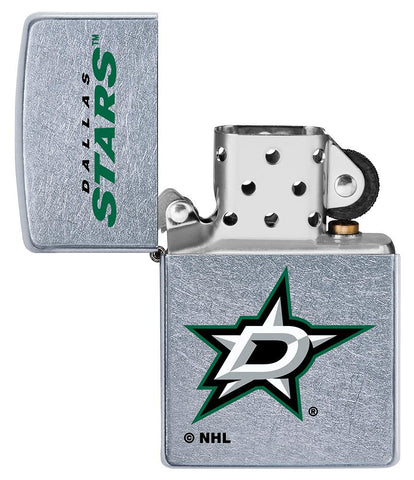 ©NHL Dallas Stars Street Chrome™ Windproof Lighter with its lid open and unlit