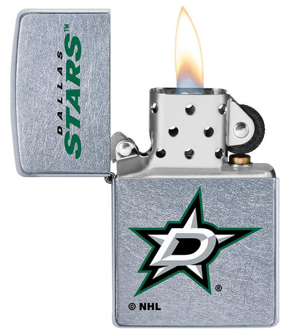 ©NHL Dallas Stars Street Chrome™ Windproof Lighter with its lid open and lit