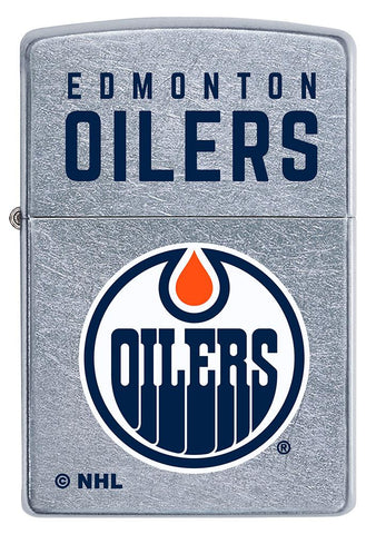 Front of ©NHL Edmonton Oilers Street Chrome™ Windproof Lighter