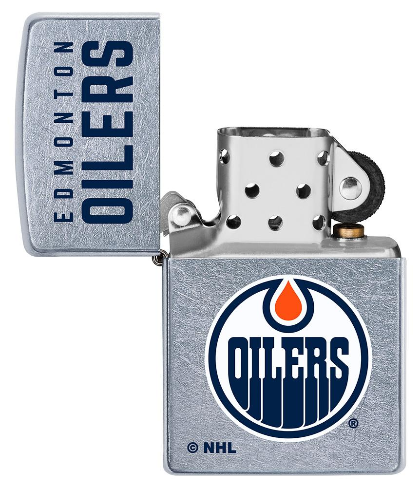 ©NHL Edmonton Oilers Street Chrome™ Windproof Lighter with its lid open and unlit