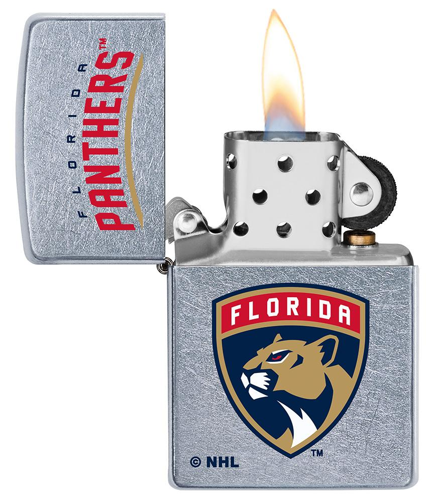 ©NHL Florida Panthers Street Chrome™ Windproof Lighter with its lid open and lit