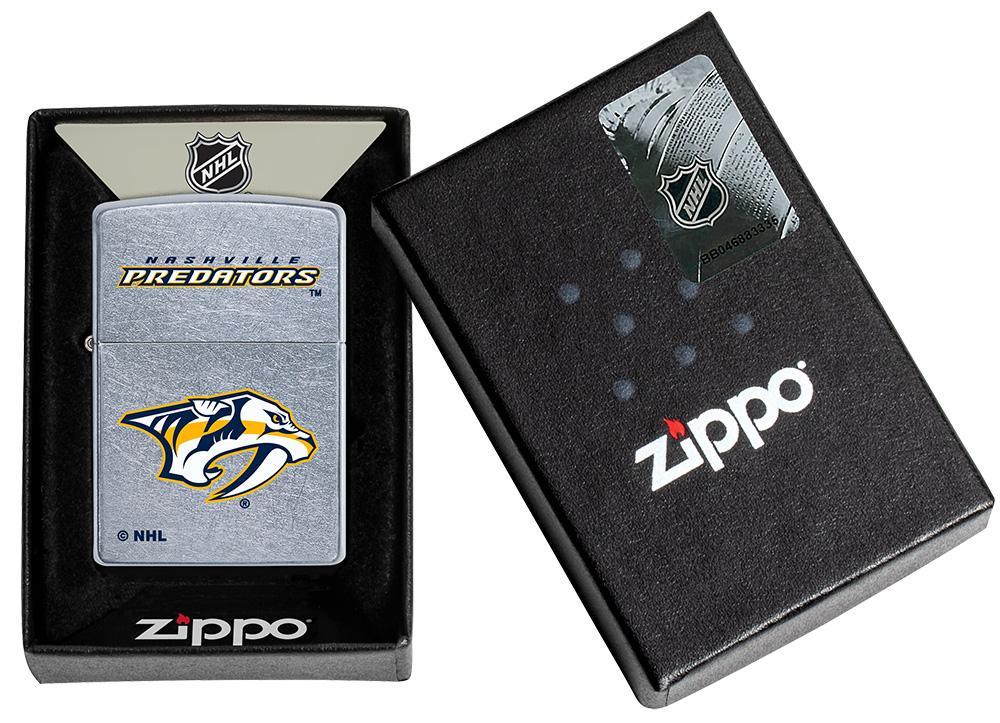 ©NHL Nashville Predators Street Chrome™ Windproof Lighter in its packaging
