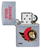 NHL® Ottawa Senators® Street Chrome™ Windproof Lighter with its lid open and unlit