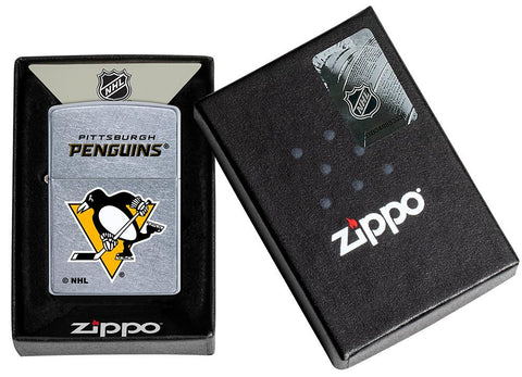 ©NHL Pittsburgh Penguins Street Chrome™ Windproof Lighter in its packaging