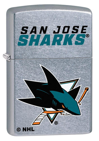 Front shot of NHL® San Jose Sharks® Street Chrome™ Windproof Lighter standing at a 3/4 angle