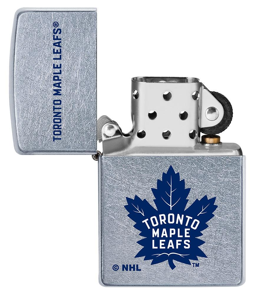 NHL Toronto Maple Leafs Street Chrome™ Windproof Lighter with its lid open and unlit
