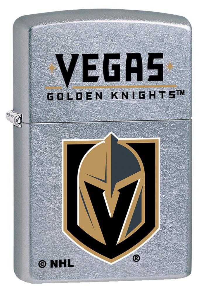 Front shot of ©NHL Vegas Golden Knights Street Chrome™ Windproof Lighter standing at a 3/4 angle