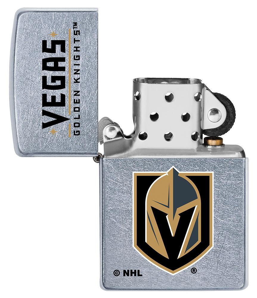 ©NHL Vegas Golden Knights Street Chrome™ Windproof Lighter with its lid open and unlit