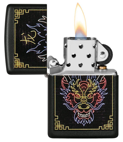 Neon Dragon Design Black Matte Windproof Lighter with its lid open and lit